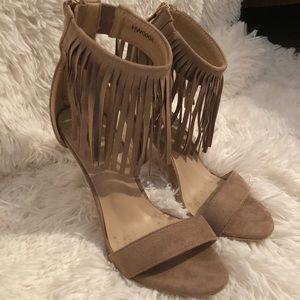 Shoes - Tan Fringe Ankle Strap Heels